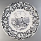 Antique French Gien Porcelain Plate, History of Joan of Arc, 1860-1871, Signed