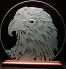 Carved Glass Bald Eagle Head 9 in. Circle in Base