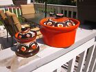 Vtg SMF SCHRAMBERG GERMANY SAMBESI Orange Covered Casserole Sugar Bowl Retro 60s