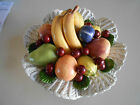 BEAUTIFUL LARGE VINTAGE CAPODIMONTE ITALY FRUIT WEAVED BASKET WIRE STEM CHERRIES