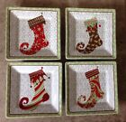 222 Fifth Christmas Stockings Appetizer Plates Set 4 Holiday Red Green