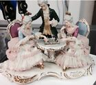 ANTIQUE GERMAN  DRESDEN PORCELAIN LACE PLAYING CHESS FIGURINE