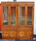 2pc Solid Wood Glass Brass Bernhardt Lighted Curio Display Cabinet China Case