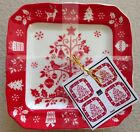 222 Fifth Tivoli Red Appetizer Plates Set Of 4 Dessert Bread Christmas Tree