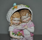 Stunning German Figurine Boy And Girl Under Basket Flowers