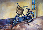 BICYCLE in the city ORIGINAL Watercolor PAINTING cityscape,оld town,architectur