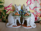 2 RARE ANTIQUE Victorian 1890s GERMAN CAT w BASKET of DOVES FIGURINES statues