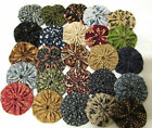 100 1 1/2 inch Fabric Yo Yo in Shades of Civil War, Museum reproduction fabrics