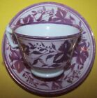 ANTIQUE PINK LUSTRE CUP AND SAUCER IN THE  CHRYSTANTHEMUM PATTERN