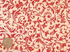 Red Floral Scrolls on a White Background 100% Cotton Flannel Fabric