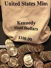 1971 2017 PD Kennedy Half Dollar 100 Coin Lot 2x Silver 90 40 +US Mint Bag