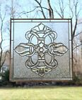 stunning Handcrafted All Clear stained glass Beveled window panel 24 x 24