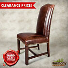 Leather Dining Chairs Antique Look Set Chair 2 Room Walnut Finish Birch Wood NEW