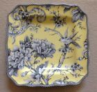 222 Fifth Adelaide Yellow Square Side  Salad Plates Set Of 4 Birds Flowers