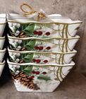 222 Fifth HOLIDAY WISHES CHRISTMAS CARDINAL POINSETTIA Appetizer Dessert Bowls 4