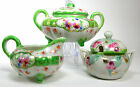 China Porcelain Set of 3 Footed Sugar Bowl Creamer Jam Jelly Floral Hand Painted