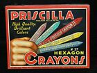 1937 Priscilla #37 Hexagon Crayons Tin Standard Toy Kraft Products Boys