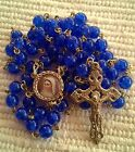 Rosary Catholic Rosaries blue glass + GIFT BAG 20.5''