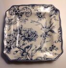 222 Fifth Adelaide Blue Square Dinner Plates Set Of 4 Birds Flowers NIB