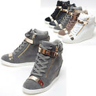 New Womens Shoes High Top Gold Velcro Wedge Heel Fashion Sneakers Black US 8
