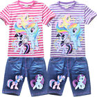 My Little Pony Kids Girls Outfits Sets Summer Striped T shirt Jeans Short Pants