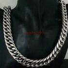 large stock silver tone stainless steel fashion men's shinny necklace 16mm24