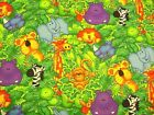 JUMPIN' JUNGLE ANIMALS LION-GIRAFFE-ELEPHANT-ZEBRA JellyBean1/2Yd Fabric Childre
