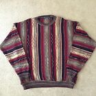 Vtg Protégé Autumn Gold Red Green Bill Cosby 3D Textured Striped Sweater~XL~Ugly