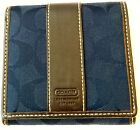 Women's Coach Embossed Signature Navy Blue Leather Bifold Canvas Wallet