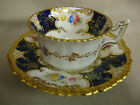 Coalport Cabinet Cup and Saucer, Hand Painted, Cobalt Blue, Flowers, Perfect