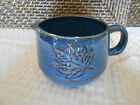 Creamer cup handle microwave dishwasher safe blue black leaf outline design