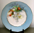 Early 1900's ANTIQUE DRESDEN GOLD TRIM GRAPES CHINA PLATTER PLATE in RARE BLUE