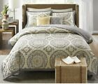 New 3 pc Target Medallion Venice Queen Size Quilt Set 86x92 Gray Yellow