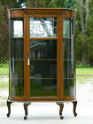 Oak Bow Front China Display Cabinet Leaded Glass circa 1900