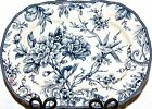 222 FIFTH ADELAIDE BLUE Toile Birds SERVING DISH P;ATTER NEW