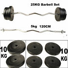 120CM Barbell Set Dumbbell Triceps Curl Bar Weight Plate Weightlifting 25KG New