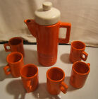 White Ceramic Coffee Pot and Six Cups Set. Made in Japan
