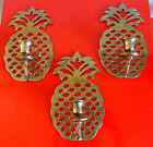 Three VINTAGE Brass PINEAPPLE Hollywood Regency CANDLE Holder Wall SCONCES