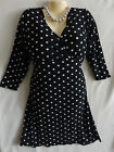NEW Jon & Anna NY 1X 2X 3X Womens Plus Classic Black White Polka Dot Dress