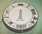 Lot of 4 NEW YORK Around the City 222 FIFTH Dessert Appetizer PLATES Black White