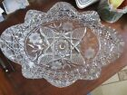 CRYSTAL AMERICAN BRILLIANT CUT ART GLASS LEADED OVAL BOWL ABP HARVARD FLORAL
