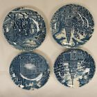 Lot of 4 Liberty Blue Historic Colonial Scenes Small Plates Made in England