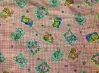 Baby animals giraffes elephants zebras tigers pink & white checkered fabric BTY