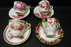 LOT OF 4 TEA CUPS & SAUCERS QUEEN ANNE ETC. FINE BONE CHINA ENGLAND PINK ROSES