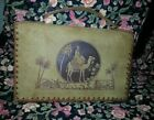 VINTAGE 1940'S EGYPTIAN CAMEL TAN BROWN LACED LEATHER/SUEDE HAND TOOLED PURSE