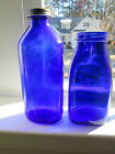 2 Vintage Cobalt Blue Glass Bottle 1 Haley's MO (Made in USA) and 1 Unmarked (H)