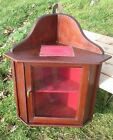Antique Wood corner cabinet display Glass Door Red Fabric Hooks rack