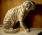 Large Vintage Signed Very Attractive White Tiger Chalkware Type Figurine Statue
