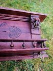 Antique Flemish Hand Carved Oak Coat Hat Rack Lion Heads Wooden Amazing