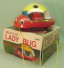 Vintage Lady Bug musical pull toy  Made in Japan
